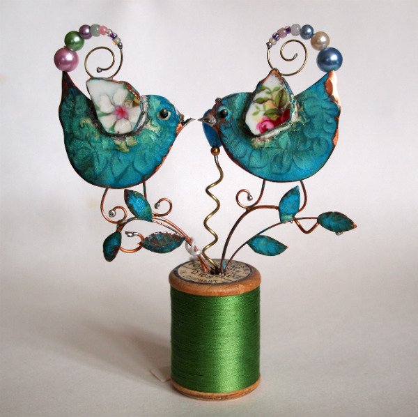 Lovebirds on Cotton Reel